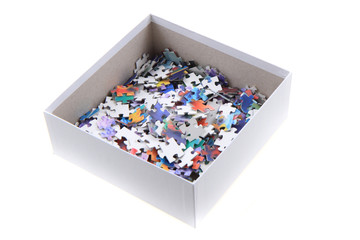 color puzzle in the paper box