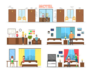 Motel interior set on white background. Romms with reception.