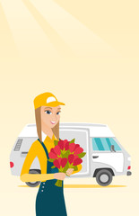 Delivery courier holding bouquet of flowers.