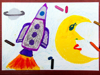 Colorful drawing: Space rocket in the cosmos