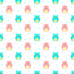Fluffy blue and pink owls with dotted background