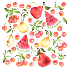 Watercolor vector fruit set with cherry, pear, watermelon