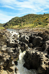 Pulo do Lubo waterfall at Guadiana river valley natural park in Alentejo Portugal