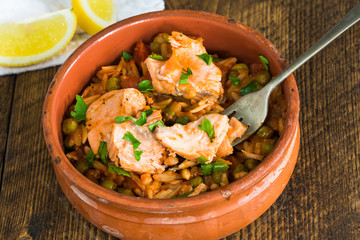 Salmon and orzo stew