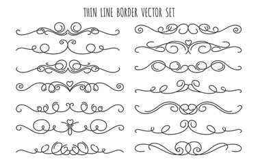 Thin line decoration dividers isolated on white background. Handdrawn swirling flourish linear divider vector set