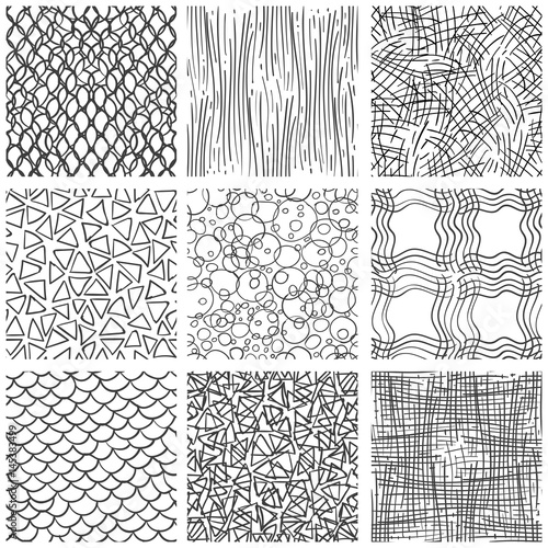 Abstract pen sketch seamless pattern set  Hand drawn doodle