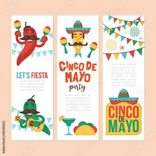 Cinco de mayo mexican holiday banner poster party invitation and cinco de mayo mexican holiday banner poster party invitation and greeting card design set stopboris Images