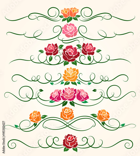 Decorative flourish borders and rose flower dividers calligraphic decorative flourish borders and rose flower dividers calligraphic ornaments for spring invitations vector illustration stopboris Images