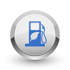 Biofuel chrome border web and smartphone apps design round glossy icon.