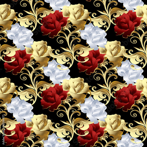 Roses seamless pattern. Floral black background wallpaper illustration with vintage red, gold and white 3d roses flowers, swirl leaves, floral damask ...