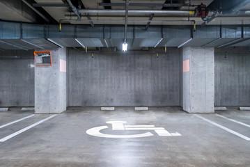 Handicapped  Parking garage underground