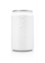 blank packaging beverage tin can with water drops isolated on white background