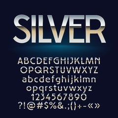 Vector set of silver letters, numbers and symbols