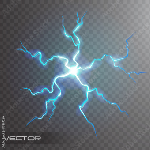 Isolated Realistic Lightning Bolt With Transparency For Design