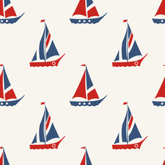 Retro Nautical Seamless Pattern with Sailing Boats