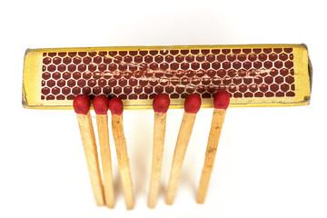 Matches lie against a matchbox, macro shot. Top View.