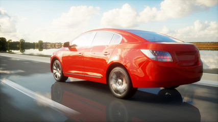 Luxury red car on highway, road. Very fast driving. Travel and car concept. 3d rendering.