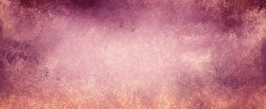 vintage pink background texture with distressed stains on border and faded white sponge grunge design effect