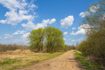 Rural road with pits and blue sky with clouds