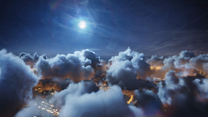 Flying over the deep night timelapse clouds with moon light. Seamlessly looped animation. Flight through moving cloudscape over night city lights. Perfect for cinema, background, digital composition. Fotobehang