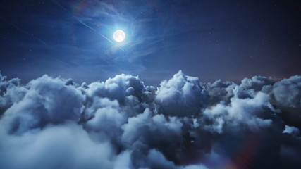 Flying over the deep night timelapse clouds with moon light. Seamlessly looped animation. Flight through moving cloudscape with beautiful moon. Perfect for cinema, background, digital composition. Fotomurales