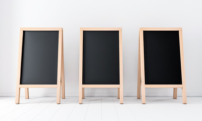 Three Wooden menu blackboards, outdoor sign board mockup set, 3d rendering