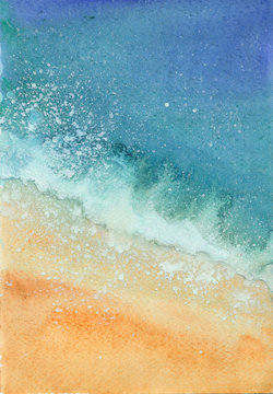 watercolor sea beach