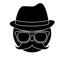 man with mustache, glasses and hat icon over white background. vector illustration