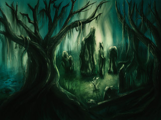 Scary forest scene - Digital Painting