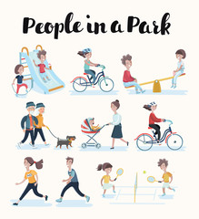 Vector set of people in situations at home and in park. Vector illustration in flat style, icons isolated on white background. Family members spending time together.