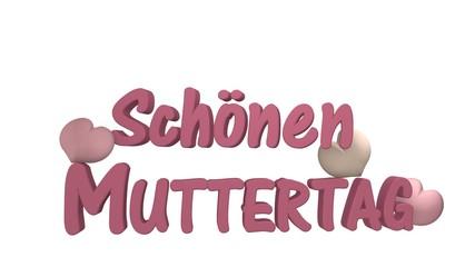 Muttertagsgruß als 3d Illustration mit Herzen in altrosa auf weißem Hintergrund