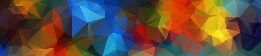 Header. Multicolor geometric rumpled triangular low poly origami style gradient illustration graphic background. Vector polygonal design for your business.