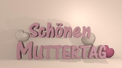 Muttertagsgruß als 3d Illustration mit Herzen in rosa auf cremefarbigen Hintergrund