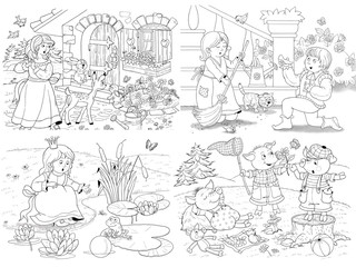 Small set of fairy tale illustrations. Snow White and seven dwarfs. Cinderella. Frog prince. Three little pigs. Coloring page. Coloring book. Cute and funny cartoon characters