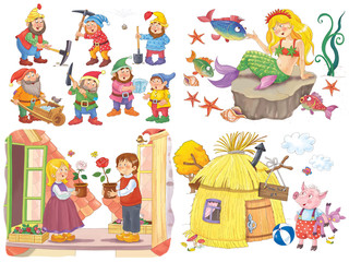 Small set of fairy tale illustrations. Snow White and seven dwarfs. Mermaid. Snow Queen. Three little pigs. Coloring page. Coloring book. Cute and funny cartoon characters
