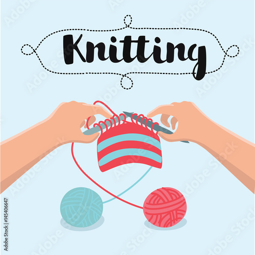 Knitting With Hands Instructions : Quot knitting hands instructions vector illustration