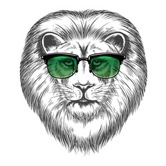 Canvas Prints Hand drawn Sketch of animals Hand drawn lion in sunglasses isolated on white background. Hipster lion print design vector illustration