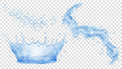 Blue water crown, drops and splash of water. Transparency only in vector file