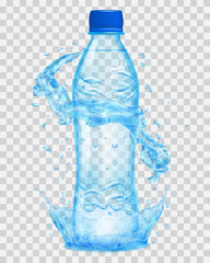 Transparent plastic bottle with water crown and splashes in light blue colors. Transparency only in vector file