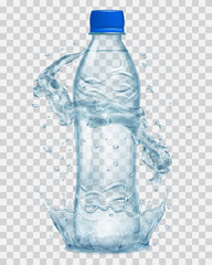 Transparent plastic bottle with water crown and splashes in gray colors. Transparency only in vector file