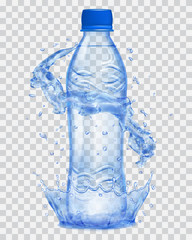 Transparent plastic bottle with water crown and splashes in blue colors. Transparency only in vector file
