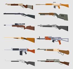 Machine guns vector set.