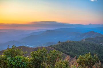 stunning scenery on hilltop near the border Thai-Myenmar