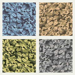 Fabric camouflage patterns. Brown and green cloth seamless pattern vector backgrounds for soldiers and hunting