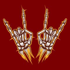 Skeleton bones hands heavy metal or rock music sign vector background