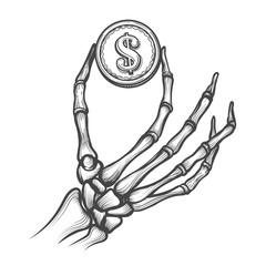 Skeleton hand with coin hand drawn vector illustration. Bones holding dollar