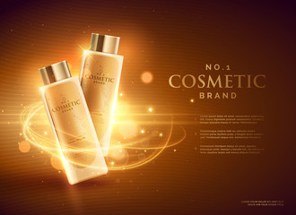 premium cosmetic brand advertising concept design with glitters and bokeh golden background