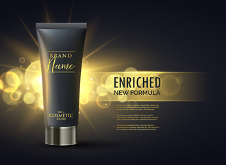 cosmetic product packaging design concept for premium brand in dark gold bokeh background