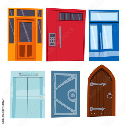 open front door illustration door clipart color door front to house and building flat design style isolated vector illustration modern new decoration
