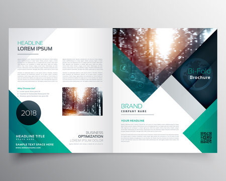 business bifold brochure or magazine cover design vector template